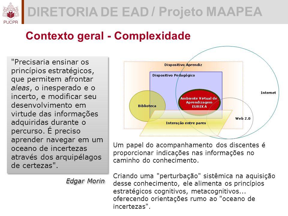 DIRETORIA DE EAD / Projeto MAAPEA Precisaria ensinar os princípios estratégicos, que permitem afrontar aleas, o inesperado e o incerto, e modificar seu desenvolvimento em virtude das informações adquiridas durante o percurso.