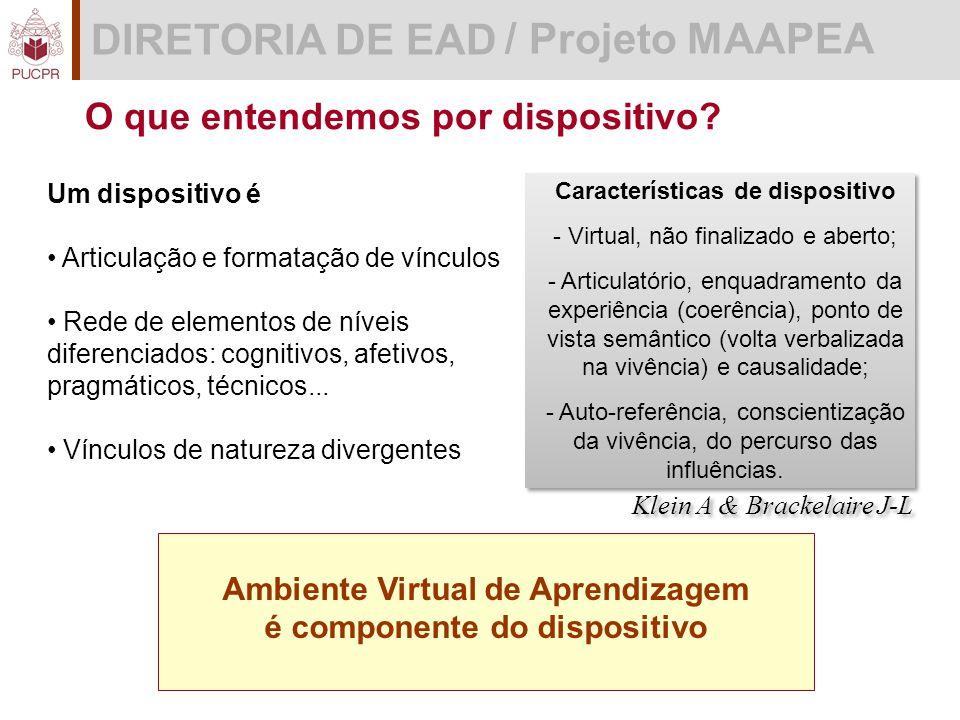 DIRETORIA DE EAD / Projeto MAAPEA Características de dispositivo - Virtual, não finalizado e aberto; - Articulatório, enquadramento da experiência (coerência), ponto de vista semântico (volta verbalizada na vivência) e causalidade; - Auto-referência, conscientização da vivência, do percurso das influências.