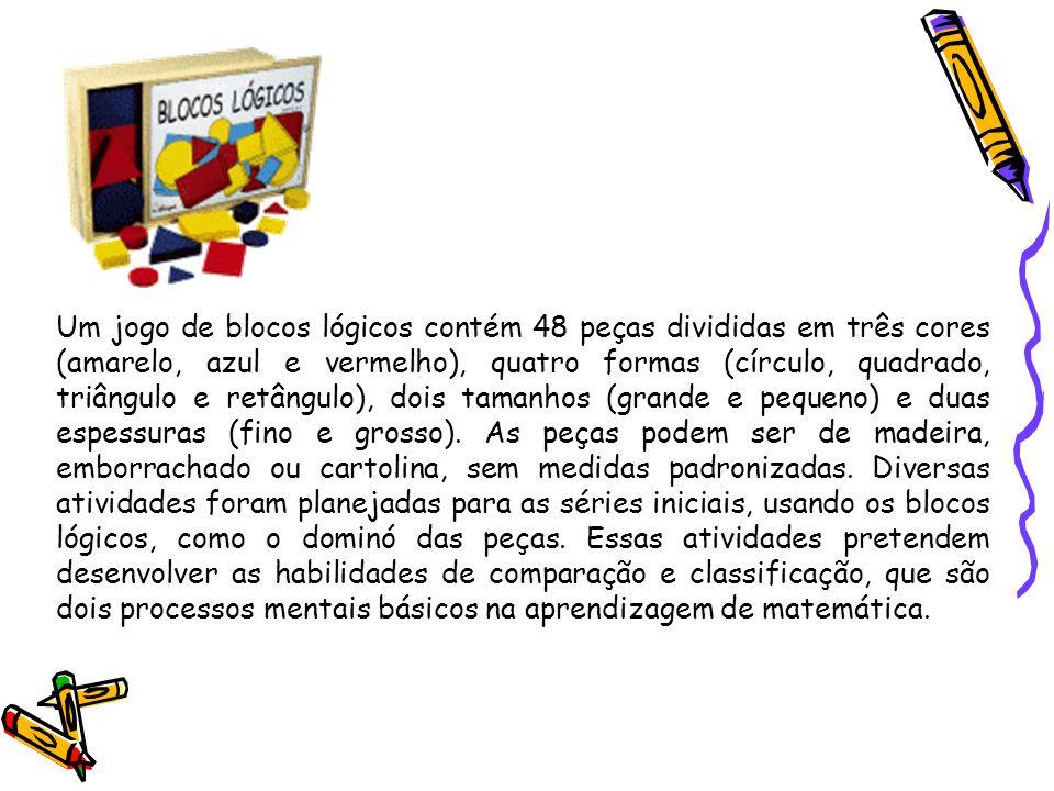 Um jogo de blocos lógicos contém 48 peças divididas em três cores (amarelo, azul e vermelho), quatro formas (círculo, quadrado, triângulo e retângulo)