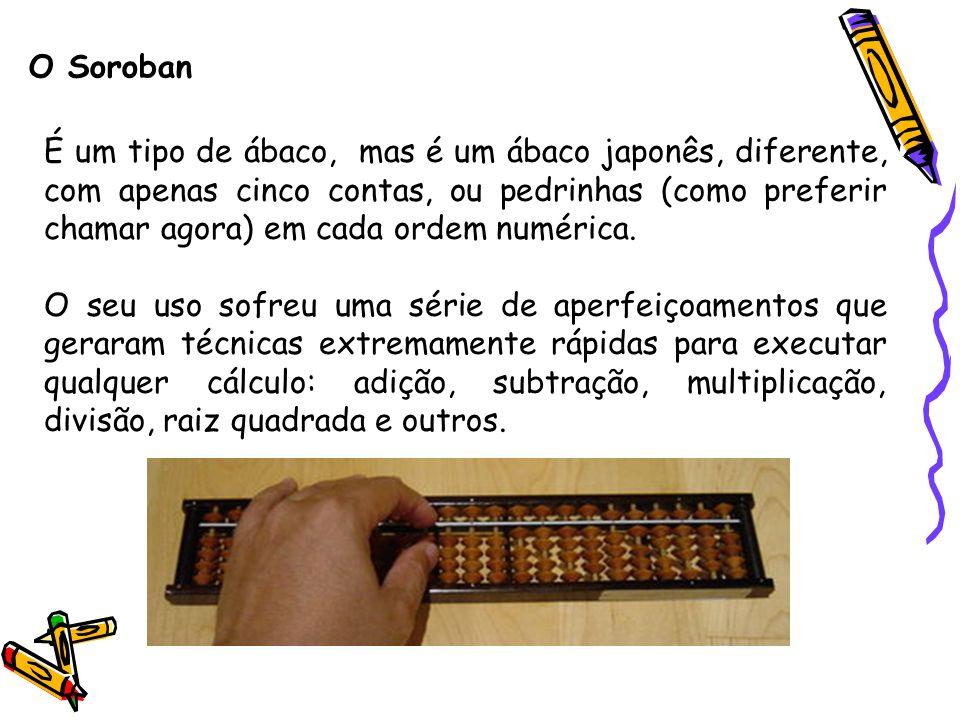 O Soroban É um tipo de ábaco, mas é um ábaco japonês, diferente, com apenas cinco contas, ou pedrinhas (como preferir chamar agora) em cada ordem numé