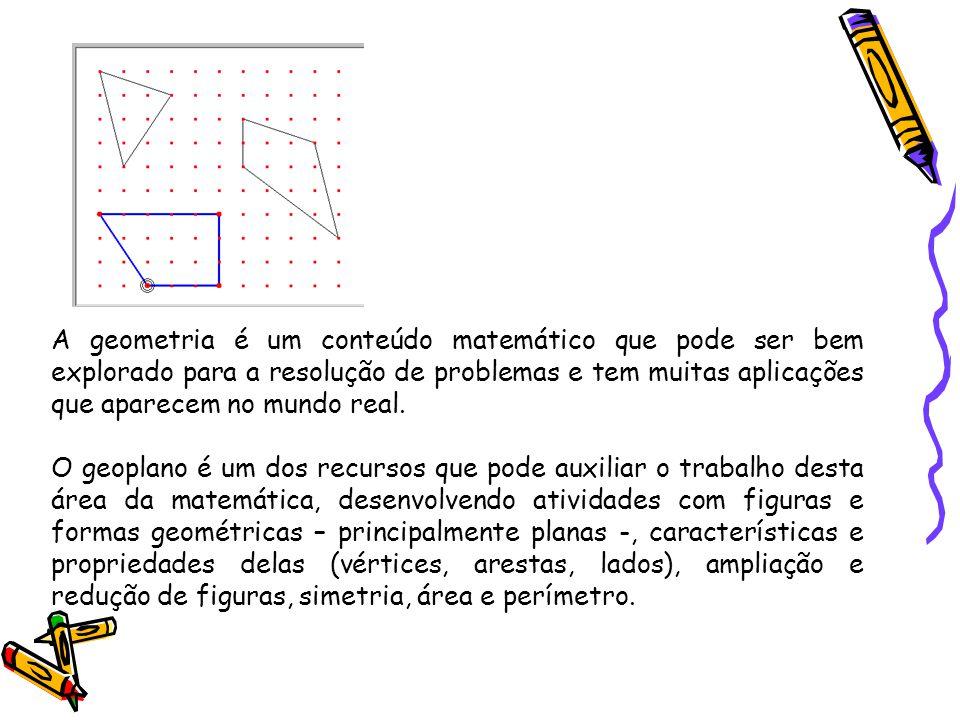 A geometria é um conteúdo matemático que pode ser bem explorado para a resolução de problemas e tem muitas aplicações que aparecem no mundo real. O ge