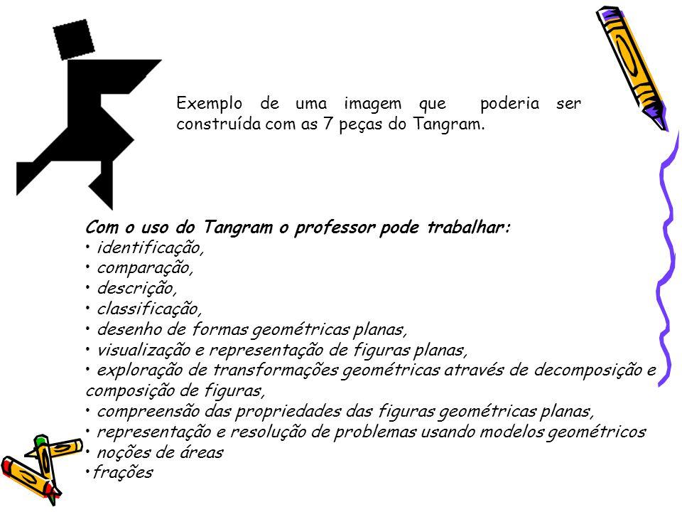 Exemplo de uma imagem que poderia ser construída com as 7 peças do Tangram. Com o uso do Tangram o professor pode trabalhar: identificação, comparação