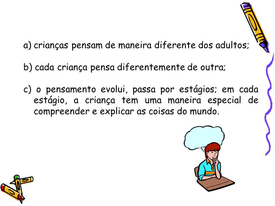 a)crianças pensam de maneira diferente dos adultos; b) cada criança pensa diferentemente de outra; c) o pensamento evolui, passa por estágios; em cada