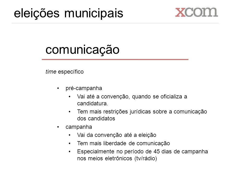 eleições municipais comunicação time específico pré-campanha Vai até a convenção, quando se oficializa a candidatura. Tem mais restrições jurídicas so