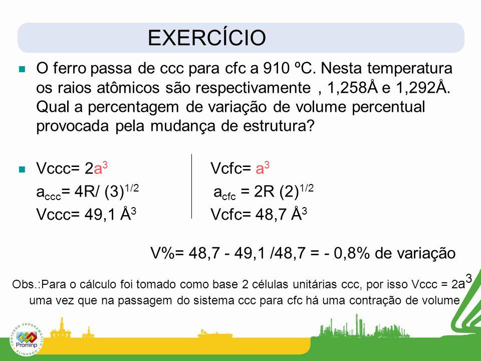 O ferro passa de ccc para cfc a 910 ºC. Nesta temperatura os raios atômicos são respectivamente, 1,258Å e 1,292Å. Qual a percentagem de variação de vo