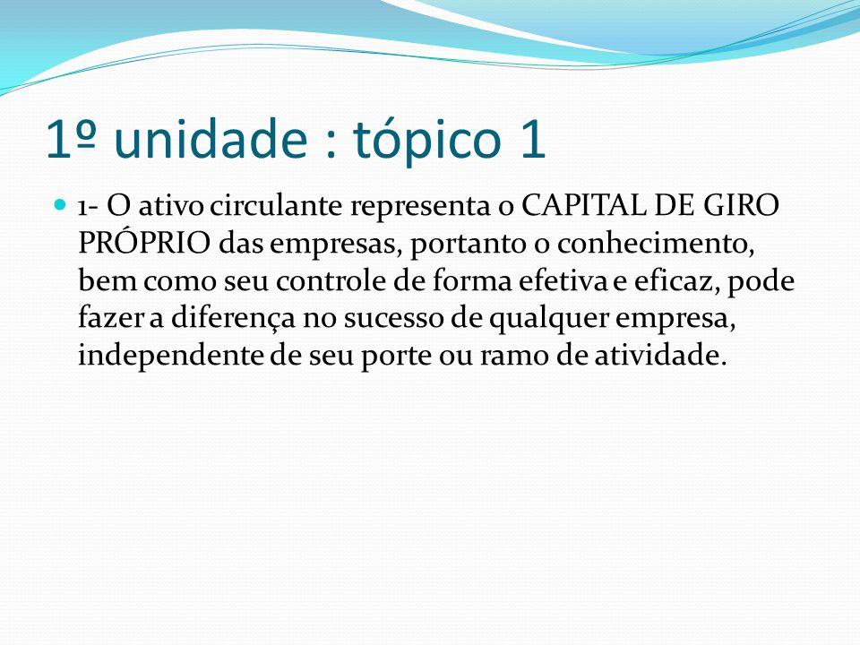 1º unidade : tópico 1 1- O ativo circulante representa o CAPITAL DE GIRO PRÓPRIO das empresas, portanto o conhecimento, bem como seu controle de forma