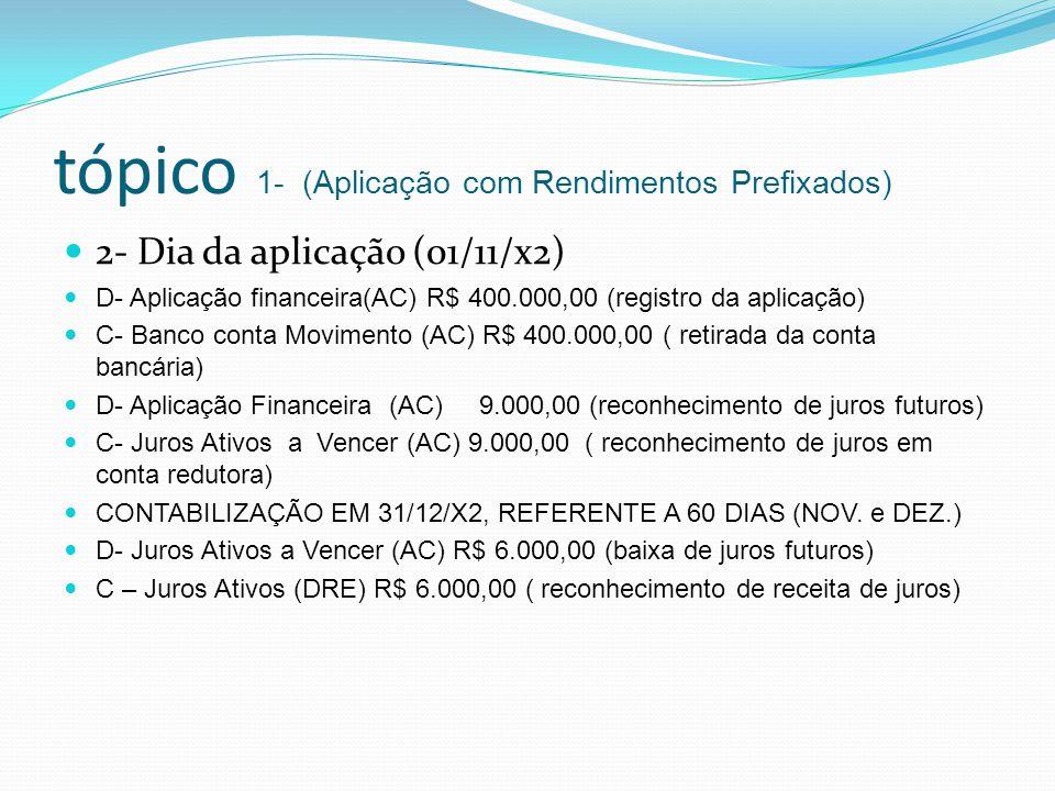 tópico 1- (Aplicação com Rendimentos Prefixados) 2- Dia da aplicação (01/11/x2) D- Aplicação financeira(AC) R$ 400.000,00 (registro da aplicação) C- B