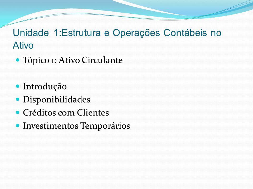 Unidade 1:Estrutura e Operações Contábeis no Ativo Tópico 1: Ativo Circulante Introdução Disponibilidades Créditos com Clientes Investimentos Temporár