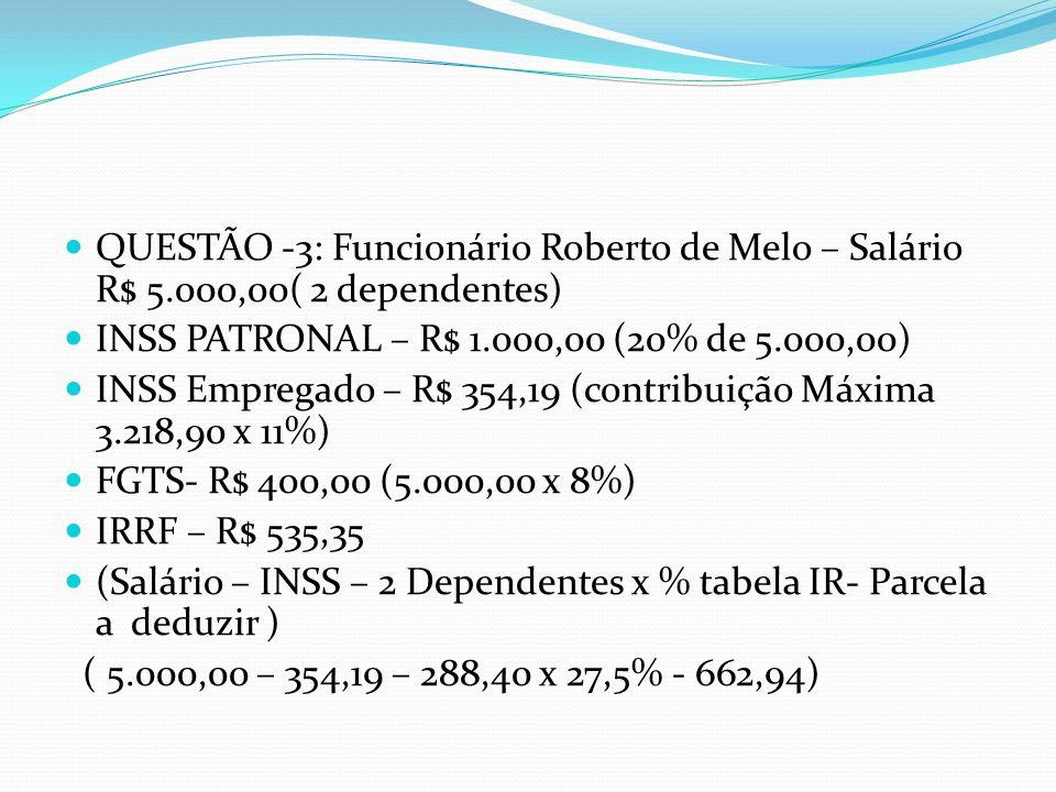 QUESTÃO -3: Funcionário Roberto de Melo – Salário R$ 5.000,00( 2 dependentes) INSS PATRONAL – R$ 1.000,00 (20% de 5.000,00) INSS Empregado – R$ 354,19