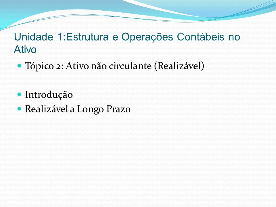 Unidade 1:Estrutura e Operações Contábeis no Ativo Tópico 2: Ativo não circulante (Realizável) Introdução Realizável a Longo Prazo