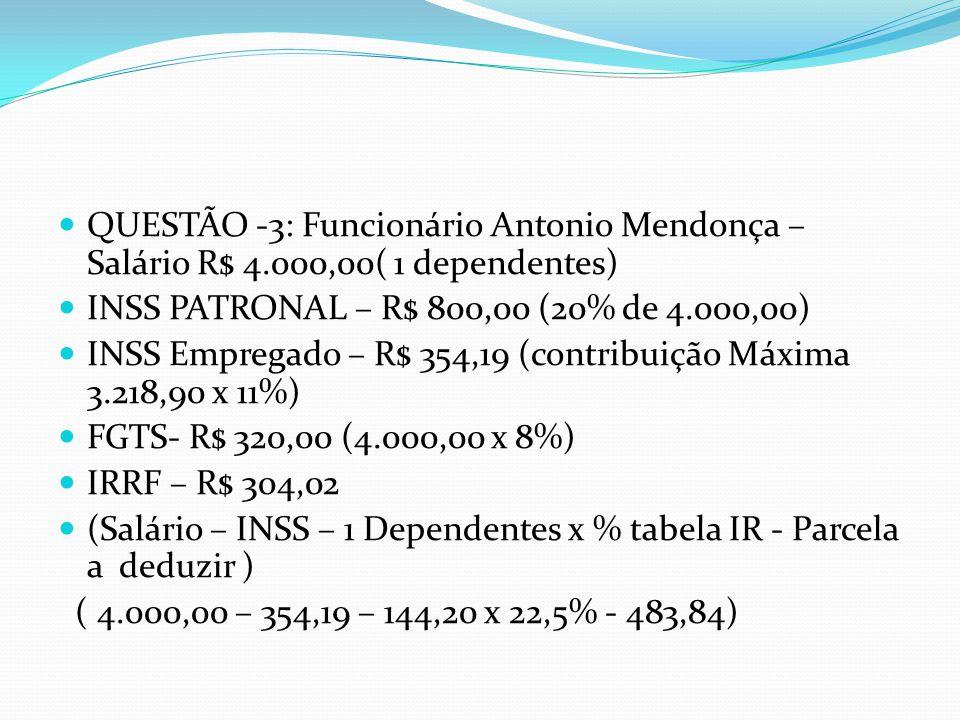 QUESTÃO -3: Funcionário Antonio Mendonça – Salário R$ 4.000,00( 1 dependentes) INSS PATRONAL – R$ 800,00 (20% de 4.000,00) INSS Empregado – R$ 354,19