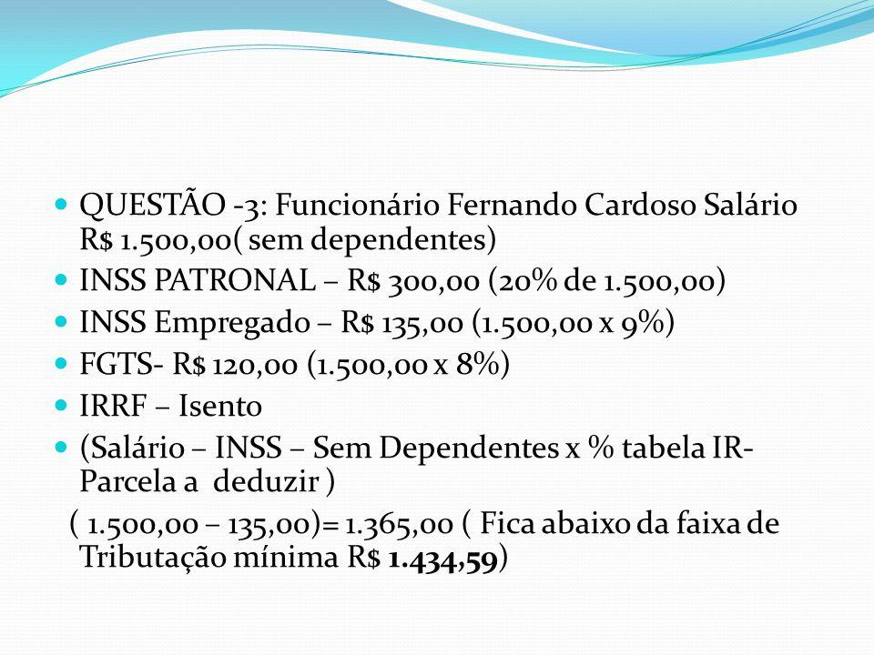 QUESTÃO -3: Funcionário Fernando Cardoso Salário R$ 1.500,00( sem dependentes) INSS PATRONAL – R$ 300,00 (20% de 1.500,00) INSS Empregado – R$ 135,00