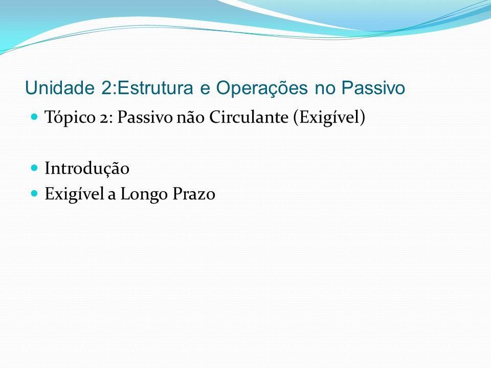 Unidade 2:Estrutura e Operações no Passivo Tópico 2: Passivo não Circulante (Exigível) Introdução Exigível a Longo Prazo