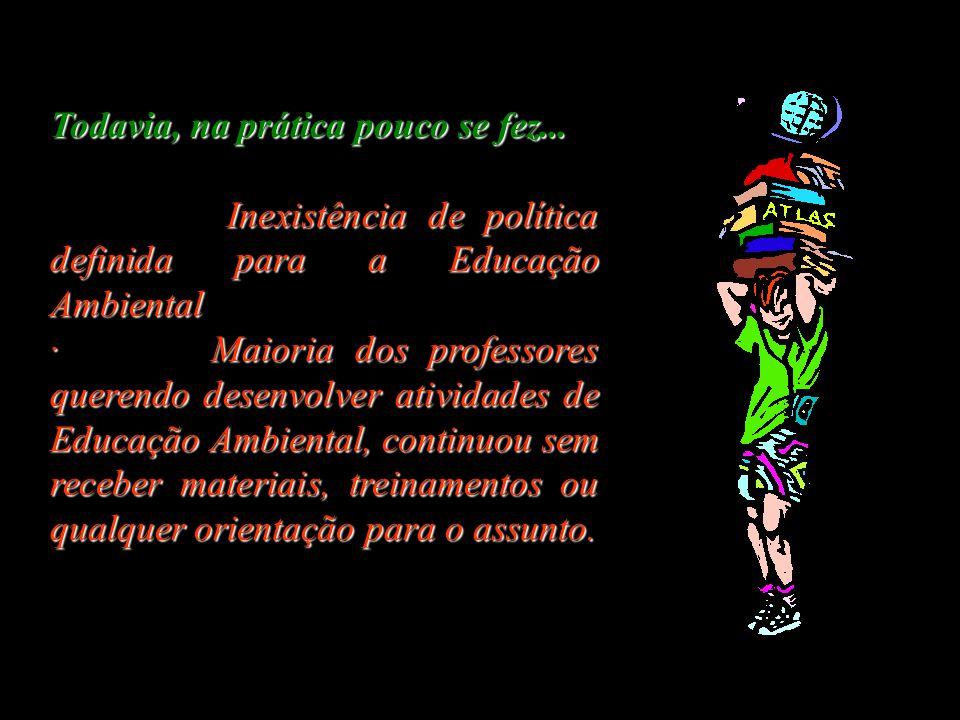 Promulgação da Constituição da República Federativa do Brasil em 1988: Capítulo especial - Meio Ambiente (Cap. VI) e um item específico sobre a Educaç
