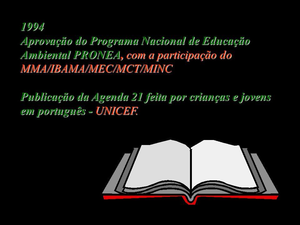 1992 Conferencia sobre o Meio Ambiente e o Desenvolvimento, UNCED, Rio/92 Criação da Agenda 21 Tratado de Educação Ambiental para Sociedades Sustentáv