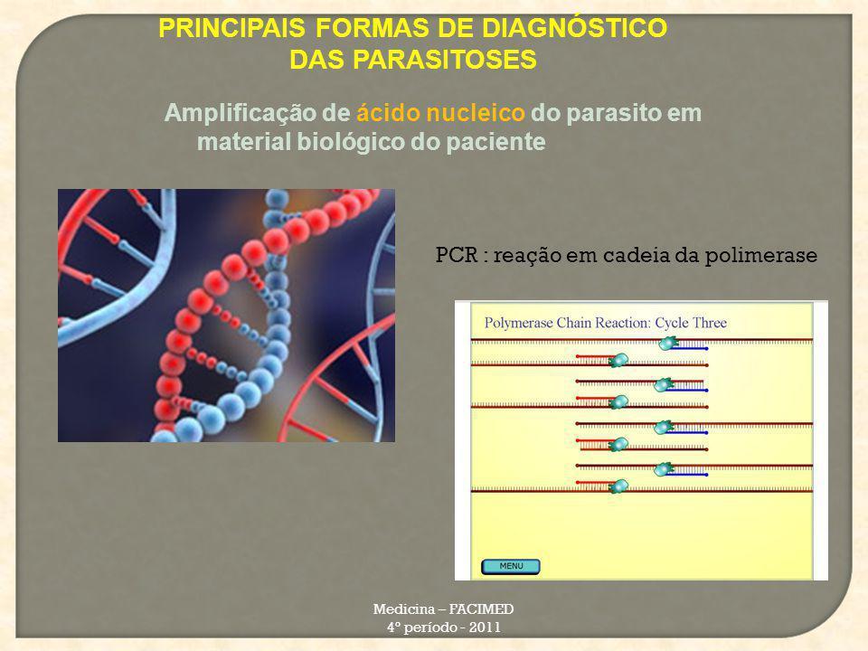 PRINCIPAIS FORMAS DE DIAGNÓSTICO DAS PARASITOSES Medicina – FACIMED 4º período - 2011 Amplificação de ácido nucleico do parasito em material biológico