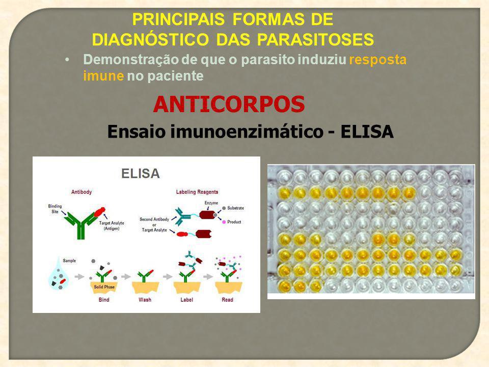 PRINCIPAIS FORMAS DE DIAGNÓSTICO DAS PARASITOSES Demonstração de que o parasito induziu resposta imune no paciente ANTICORPOS Ensaio imunoenzimático -