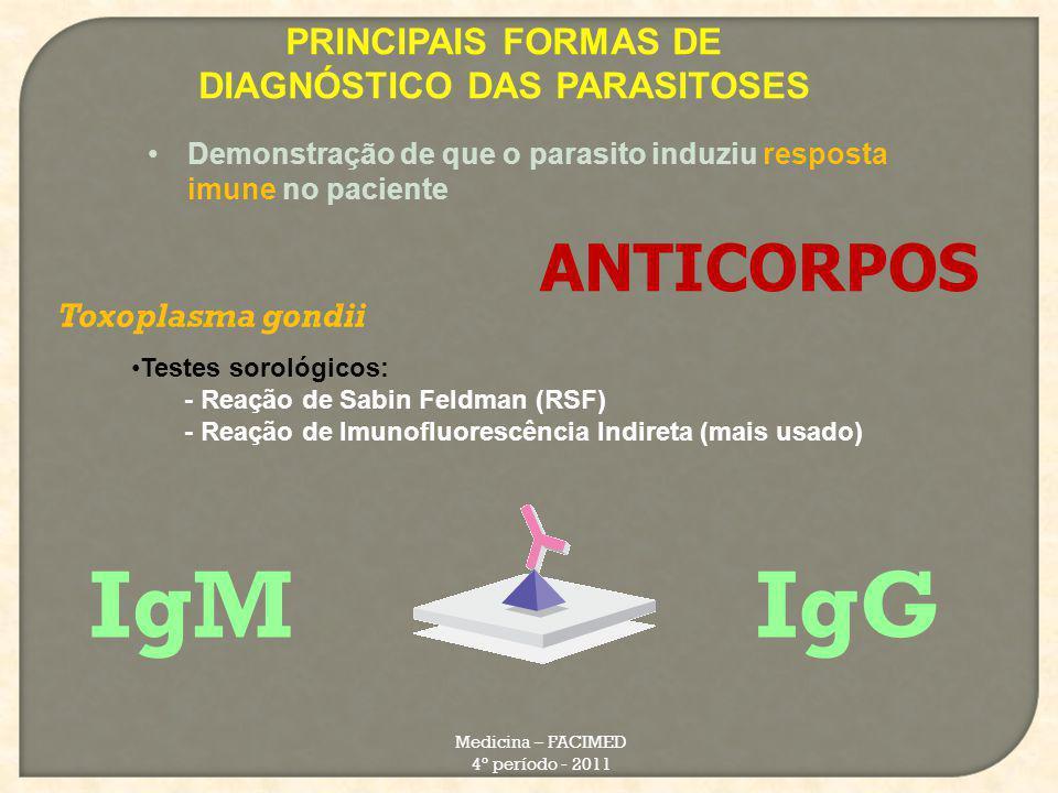 PRINCIPAIS FORMAS DE DIAGNÓSTICO DAS PARASITOSES Medicina – FACIMED 4º período - 2011 Demonstração de que o parasito induziu resposta imune no pacient