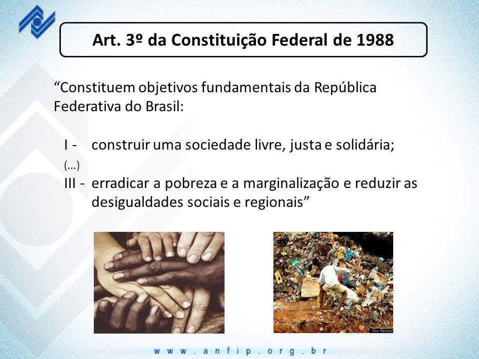 """Art. 3º da Constituição Federal de 1988 """"Constituem objetivos fundamentais da República Federativa do Brasil: I - construir uma sociedade livre, justa"""