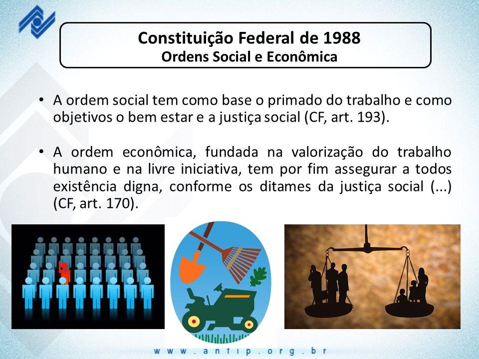 Constituição Federal de 1988 Ordens Social e Econômica A ordem social tem como base o primado do trabalho e como objetivos o bem estar e a justiça soc