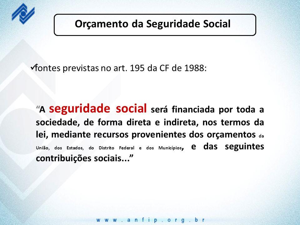 """Orçamento da Seguridade Social fontes previstas no art. 195 da CF de 1988: """"A seguridade social será financiada por toda a sociedade, de forma direta"""