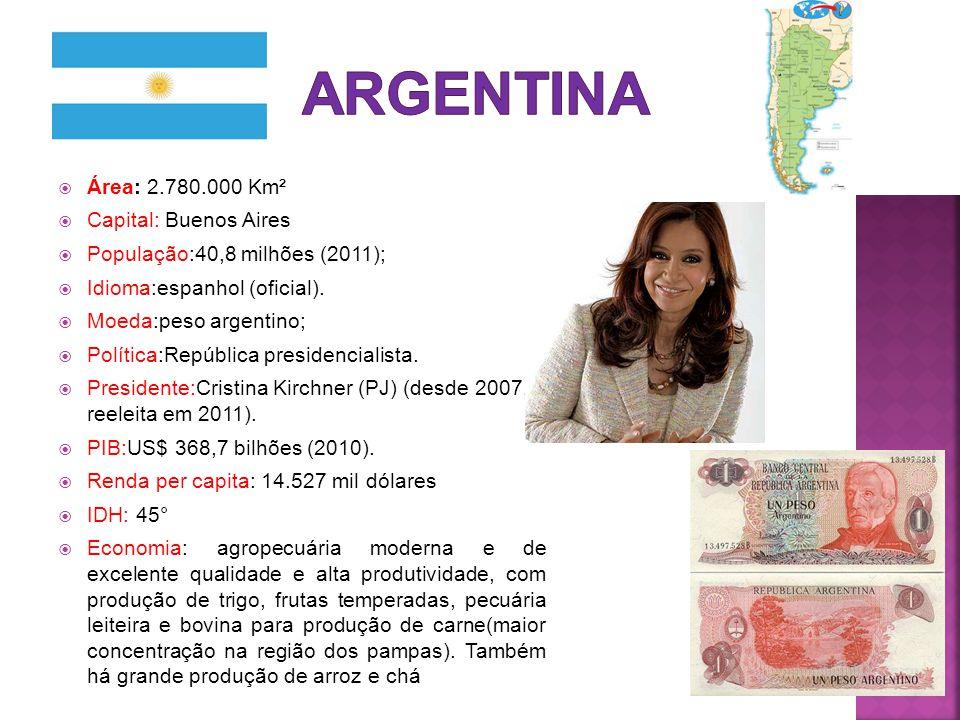  Área: 2.780.000 Km²  Capital: Buenos Aires  População:40,8 milhões (2011);  Idioma:espanhol (oficial).