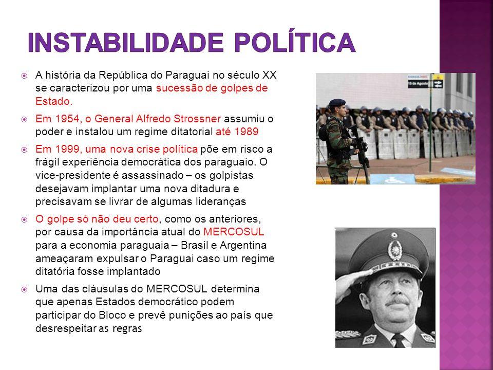 A história da República do Paraguai no século XX se caracterizou por uma sucessão de golpes de Estado.