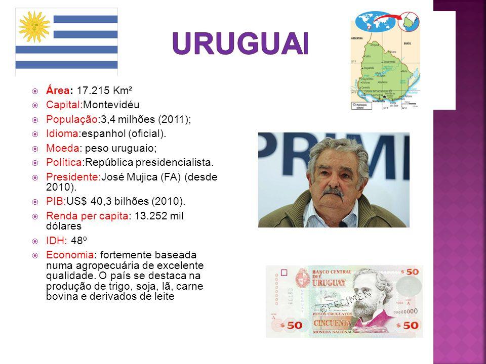  Área: 17.215 Km²  Capital:Montevidéu  População:3,4 milhões (2011);  Idioma:espanhol (oficial).