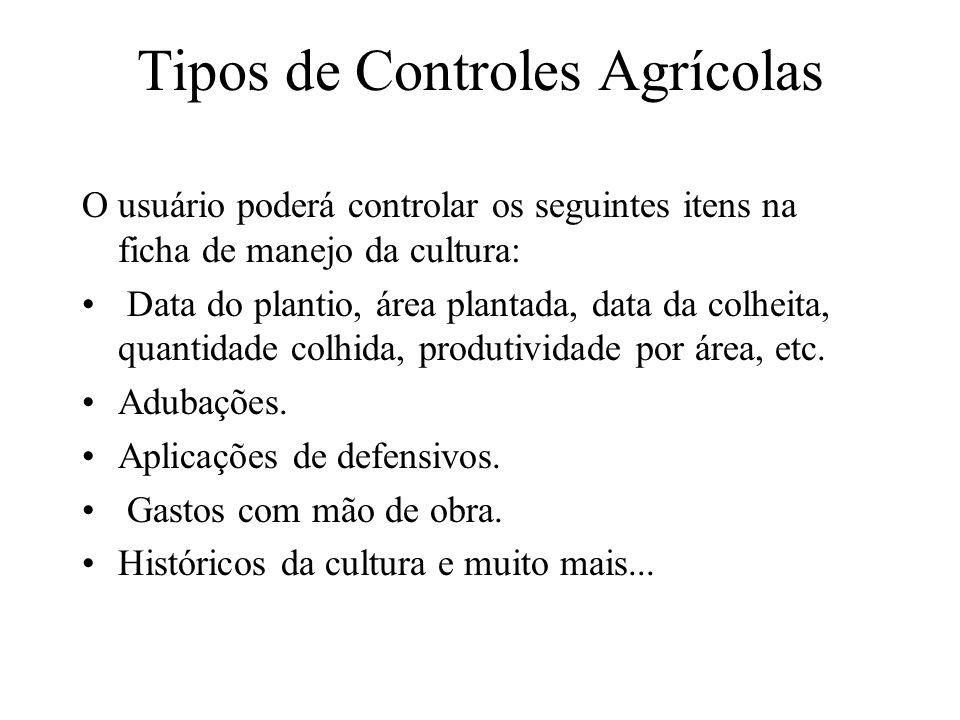 Tipos de Controles Agrícolas O usuário poderá controlar os seguintes itens na ficha de manejo da cultura: Data do plantio, área plantada, data da colh