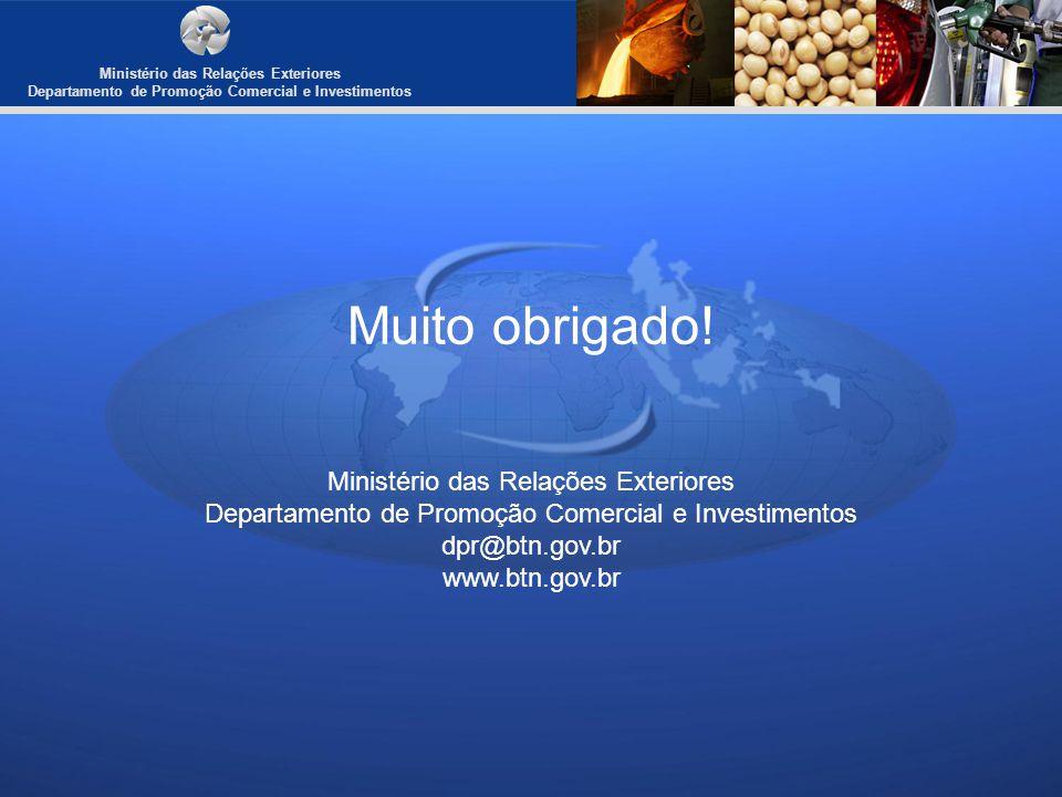 Muito obrigado! Ministério das Relações Exteriores Departamento de Promoção Comercial e Investimentos dpr@btn.gov.br www.btn.gov.br Ministério das Rel