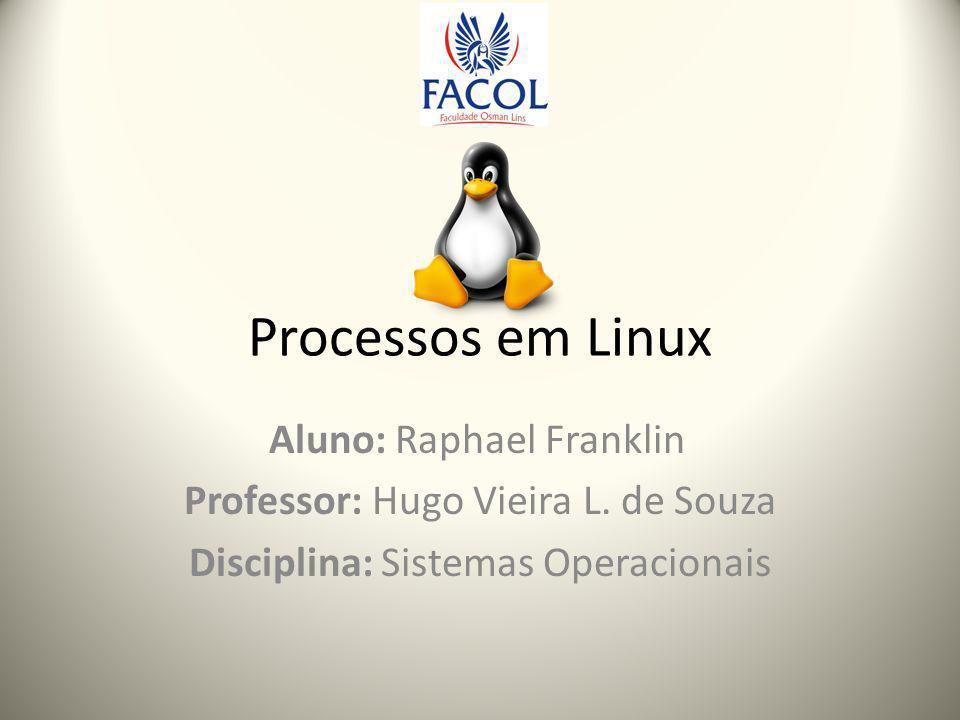 Processos em Linux Aluno: Raphael Franklin Professor: Hugo Vieira L.