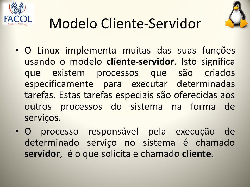 Modelo Cliente-Servidor O Linux implementa muitas das suas funções usando o modelo cliente-servidor.