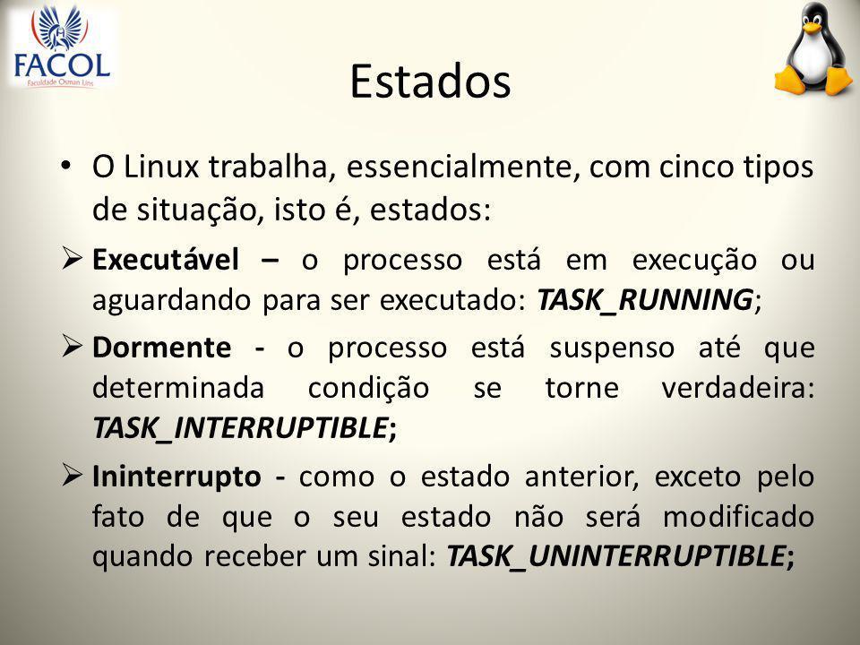 Estados O Linux trabalha, essencialmente, com cinco tipos de situação, isto é, estados:  Executável – o processo está em execução ou aguardando para ser executado: TASK_RUNNING;  Dormente - o processo está suspenso até que determinada condição se torne verdadeira: TASK_INTERRUPTIBLE;  Ininterrupto - como o estado anterior, exceto pelo fato de que o seu estado não será modificado quando receber um sinal: TASK_UNINTERRUPTIBLE;