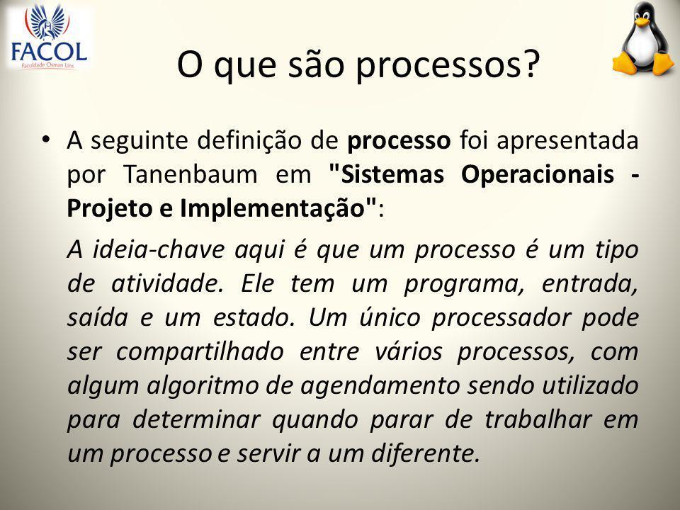 Estados de um processo executando - o processo está utilizando a CPU; pronto - o processo está temporariamente parado para permitir que outro processo execute; bloqueado - o processo é incapaz de executar até que um evento aconteça.