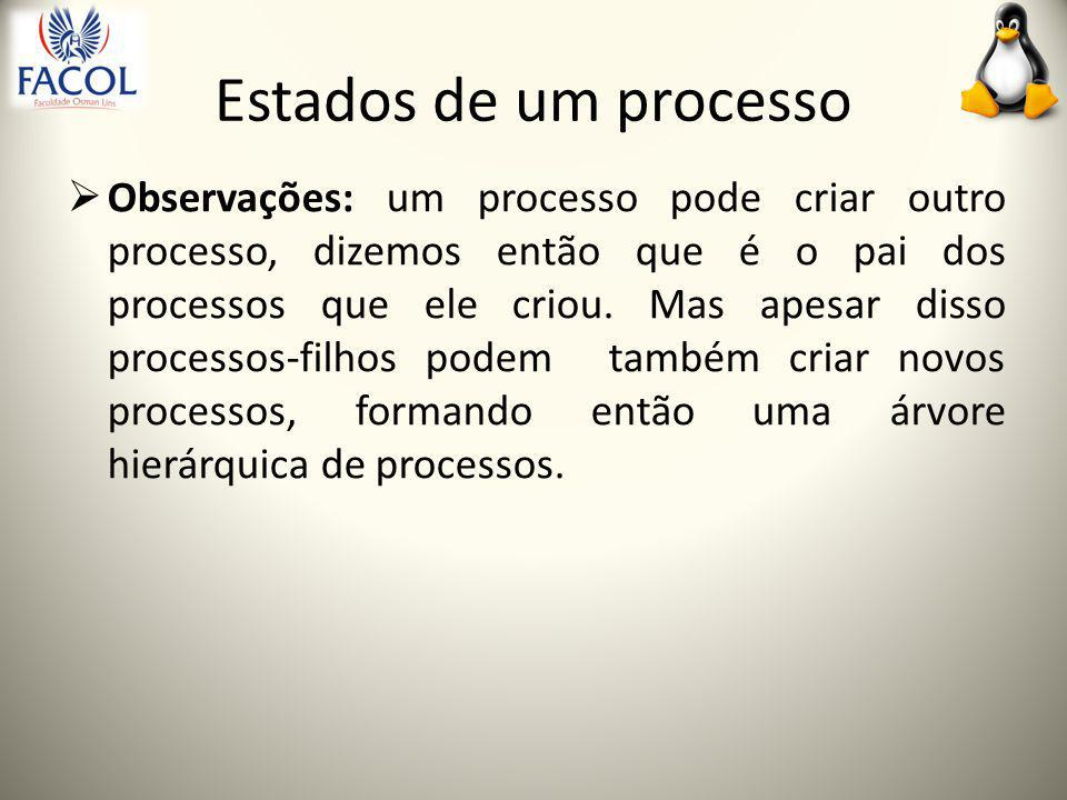 Estados de um processo  Observações: um processo pode criar outro processo, dizemos então que é o pai dos processos que ele criou.