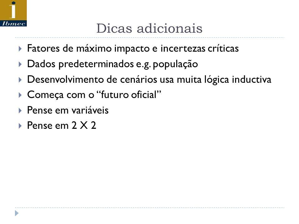 Dicas adicionais  Fatores de máximo impacto e incertezas críticas  Dados predeterminados e.g.