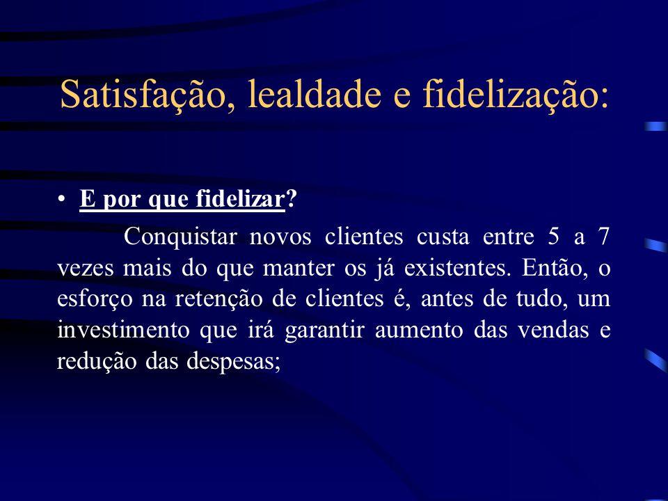 Satisfação, lealdade e fidelização: Fidelidade: No contexto empresarial descreve a disposição de um cliente de continuar prestigiando uma empresa dura