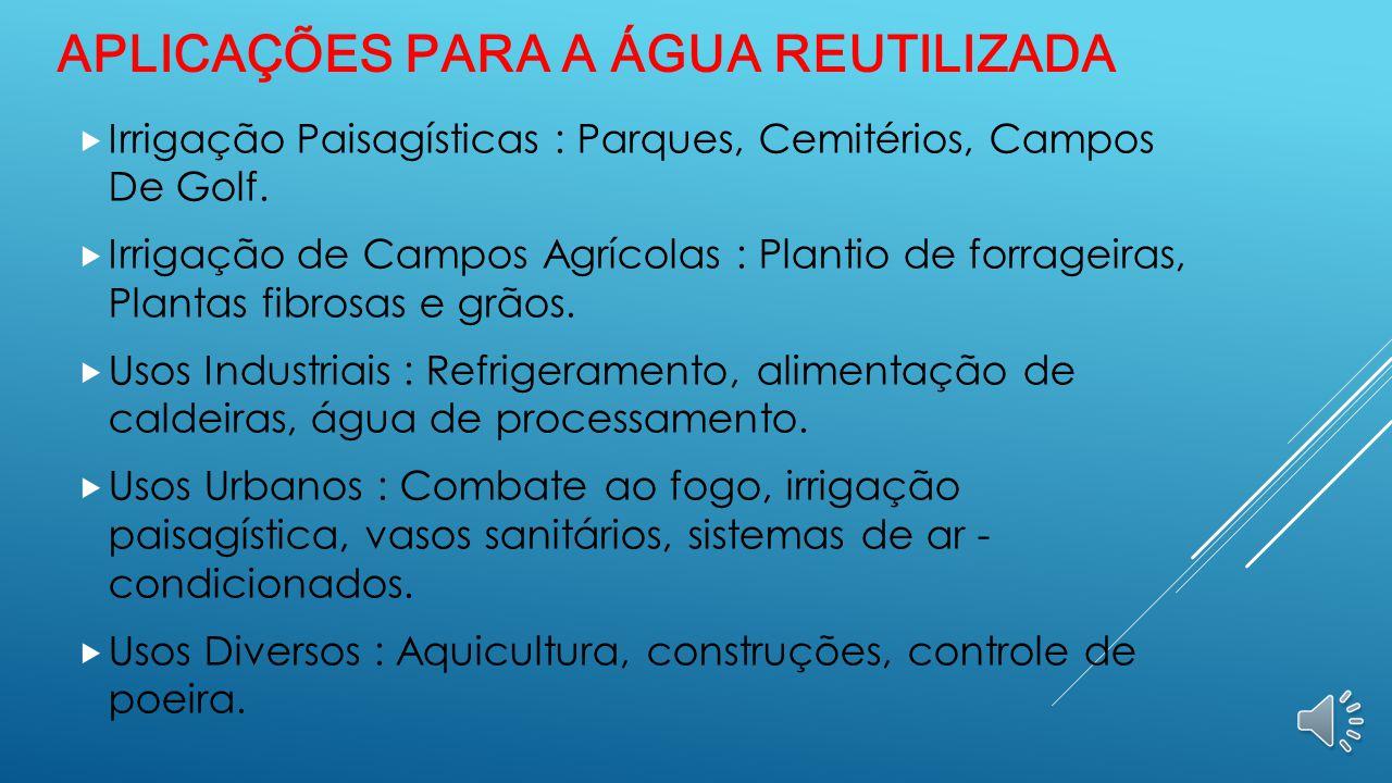 REUSO DA ÁGUA EM SÃO PAULO (CAPITAL)  A água de reúso é produzida dentro das Estações de Tratamento de Esgoto e pode ser utilizada para inúmeras fina
