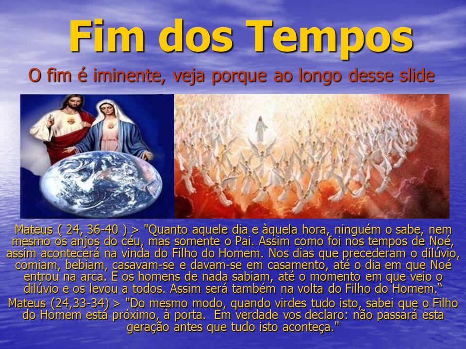 Fim dos Tempos Mateus ( 24, 36-40 ) >