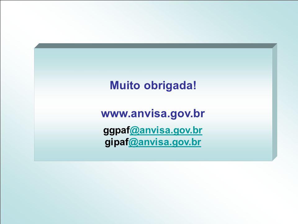 Muito obrigada! www.anvisa.gov.br ggpaf@anvisa.gov.br@anvisa.gov.br gipaf@anvisa.gov.br@anvisa.gov.br