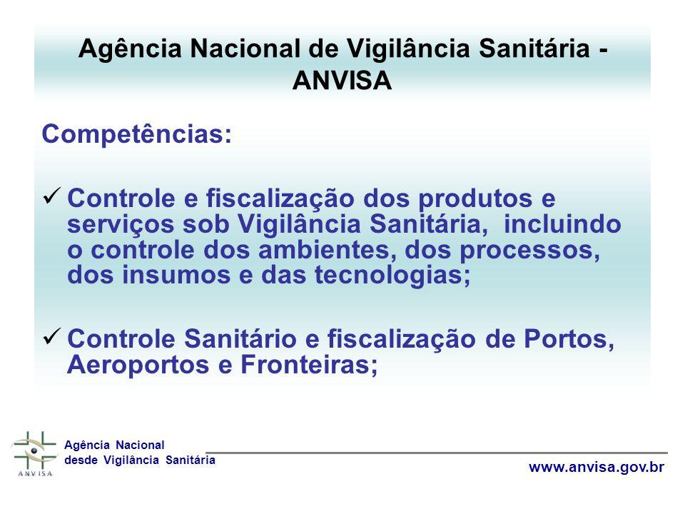 Competências: Controle e fiscalização dos produtos e serviços sob Vigilância Sanitária, incluindo o controle dos ambientes, dos processos, dos insumos