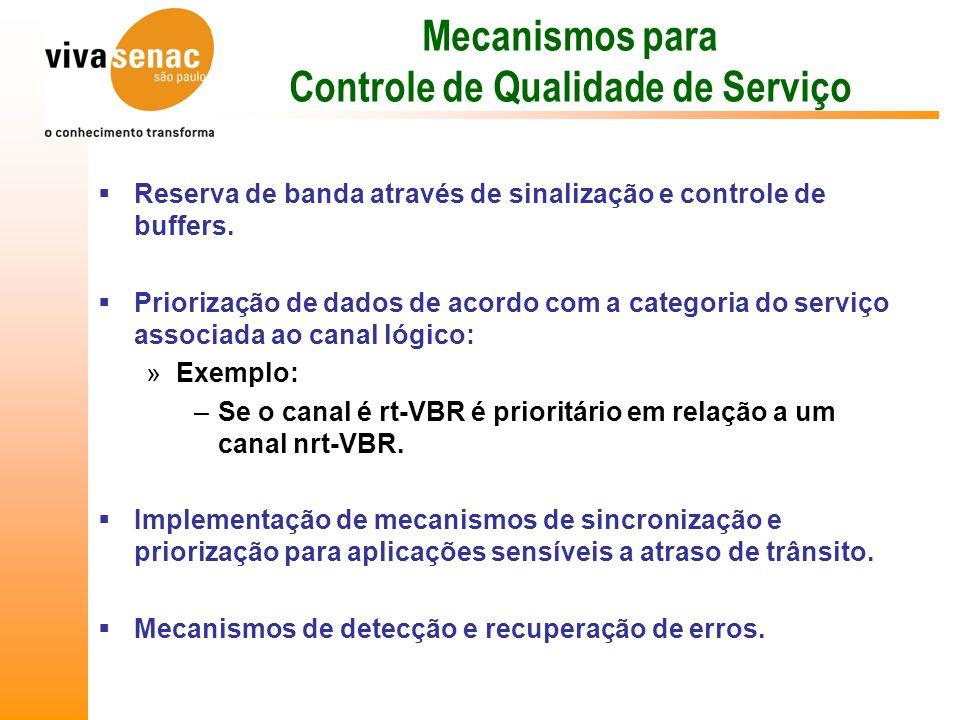 Mecanismos para Controle de Qualidade de Serviço  Reserva de banda através de sinalização e controle de buffers.