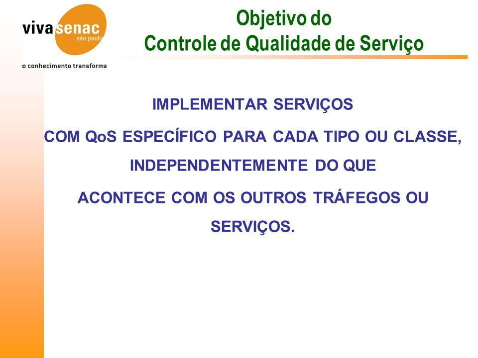 Objetivo do Controle de Qualidade de Serviço IMPLEMENTAR SERVIÇOS COM QoS ESPECÍFICO PARA CADA TIPO OU CLASSE, INDEPENDENTEMENTE DO QUE ACONTECE COM OS OUTROS TRÁFEGOS OU SERVIÇOS.