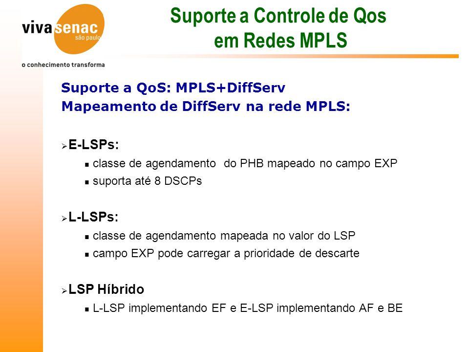  E-LSPs: classe de agendamento do PHB mapeado no campo EXP suporta até 8 DSCPs  L-LSPs: classe de agendamento mapeada no valor do LSP campo EXP pode carregar a prioridade de descarte  LSP Híbrido L-LSP implementando EF e E-LSP implementando AF e BE Suporte a Controle de Qos em Redes MPLS Suporte a QoS: MPLS+DiffServ Mapeamento de DiffServ na rede MPLS: