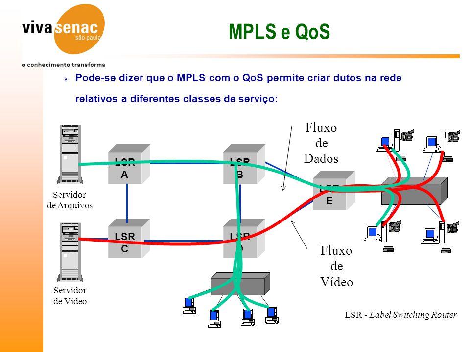 MPLS e QoS  Pode-se dizer que o MPLS com o QoS permite criar dutos na rede relativos a diferentes classes de serviço: LSR C LSR D LSR E LSR A LSR B LSR - Label Switching Router Servidor de Vídeo Servidor de Arquivos Fluxo de Vídeo Fluxo de Dados