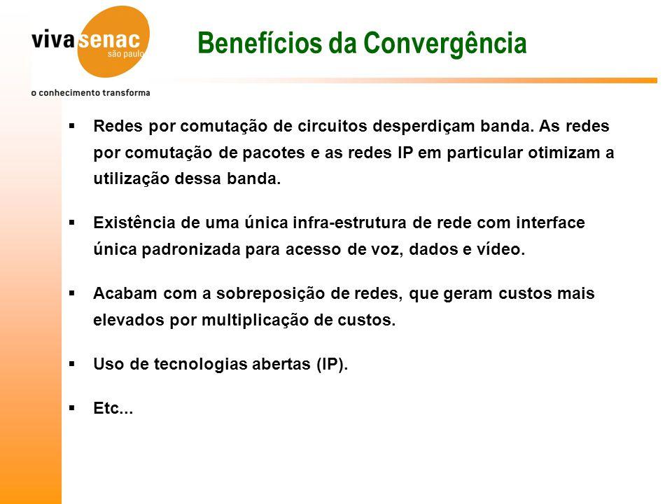 Benefícios da Convergência  Redes por comutação de circuitos desperdiçam banda.