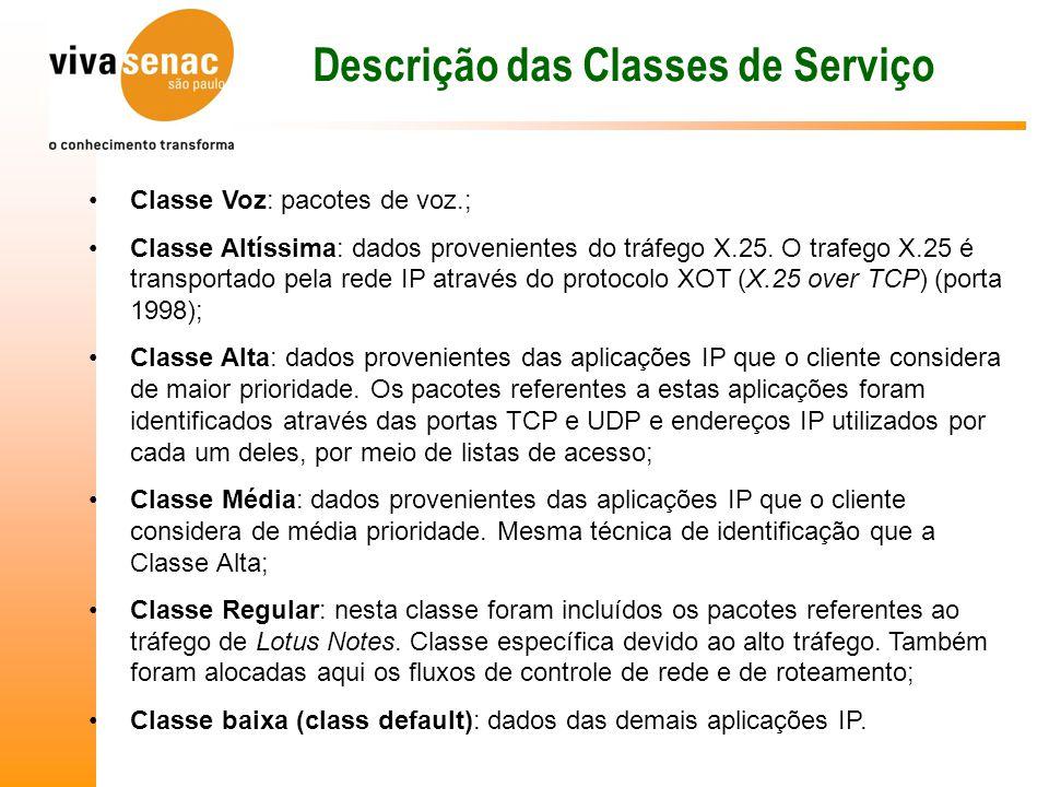 Descrição das Classes de Serviço Classe Voz: pacotes de voz.; Classe Altíssima: dados provenientes do tráfego X.25.