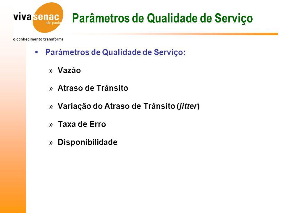 Parâmetros de Qualidade de Serviço  Parâmetros de Qualidade de Serviço: »Vazão »Atraso de Trânsito »Variação do Atraso de Trânsito (jitter) »Taxa de Erro »Disponibilidade