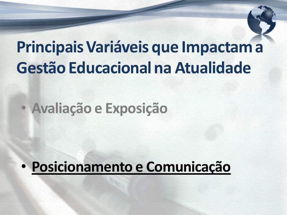 Principais Variáveis que Impactam a Gestão Educacional na Atualidade Avaliação e Exposição Posicionamento e Comunicação