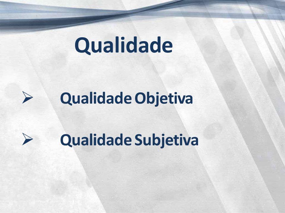Qualidade  Qualidade Objetiva  Qualidade Subjetiva